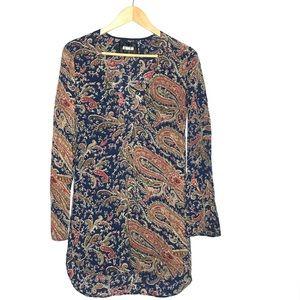 REFORMATION Long Sleeve Keyhole Paisley Dress